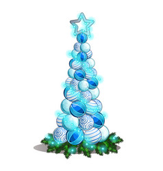 sketch with a bunch christmas glass balls in vector image