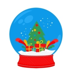 Snow globe Christmas tree vector