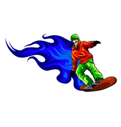 snowboarder crow on fire design vector image