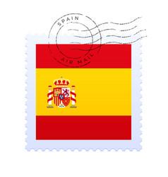 spain postage mark national flag postage stamp vector image