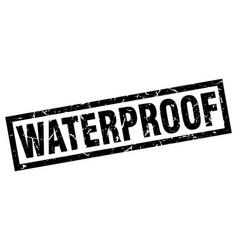 Square grunge black waterproof stamp vector