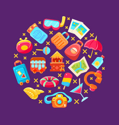 summer holiday icons arranged in a circle vector image