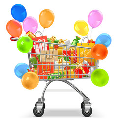 Supermarket Trolley with Gifts vector