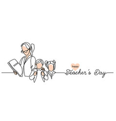 teachers day background with children and woman vector image
