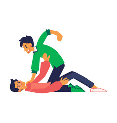 Two man physical conflict grab collar vector
