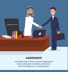 Two men reached to general agreement vector