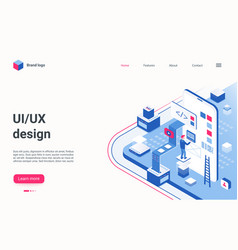 ux ui design isometric landing page coder vector image