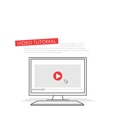 Video tutorial on screen of computer study online vector