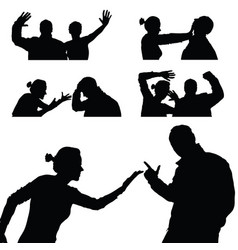 violence in family set in black color vector image