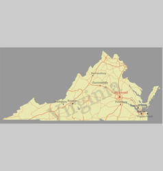 virginia accurate high detailed state map with vector image