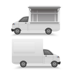 white food truck mock up template fast food van vector image