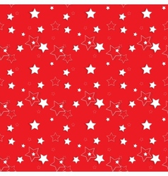 White Stars on a Red Background Seamless Pattern vector