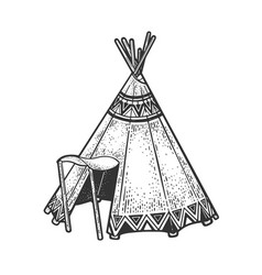 wigwam hut sketch vector image