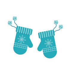 winter knitted mittens with vector image