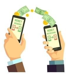 Wireless sending money with smartphone vector