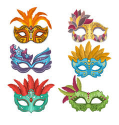 Woman masks with feathers for masquerade vector