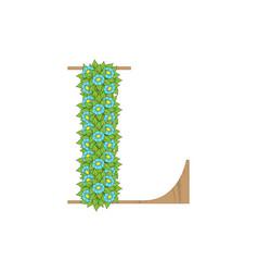 Wooden leaves letter l vector