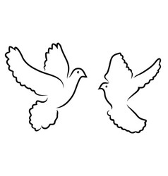 doves silhouettes vector image vector image