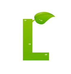 green eco letter l illiustration vector image
