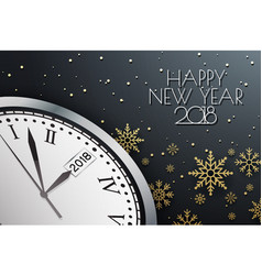 happy new year 2018 background with clock vector image vector image