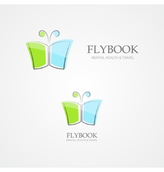 Logo combination of a book and butterfly vector image vector image