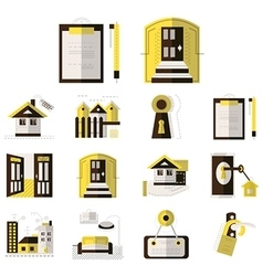 Rental of property flat color icons vector image vector image