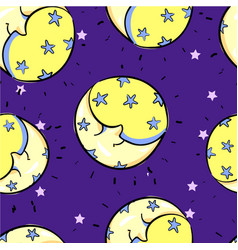 seamless moon with smile sleeping pattern childish vector image vector image