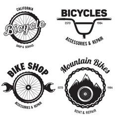 set of vintage and modern bike shop logo badges vector image vector image