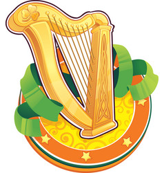 st patrick day symbol the irish harp vector image