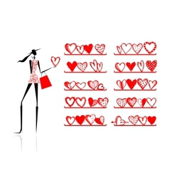 Valentine day Girl in shop with hearts vector image