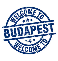 welcome to budapest blue stamp vector image