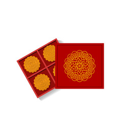 chinese moon cake in opened gift box top view vector image vector image