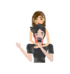 drawing loving couple woman embracing man vector image vector image