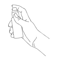 hand with cosmetic spray bottle vector image