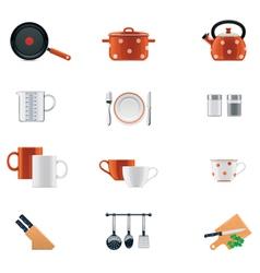 kitchenware icon set vector image