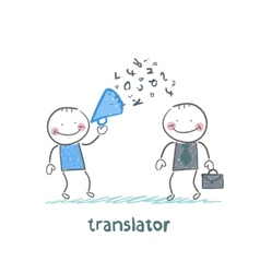 translator listens as businessman shouting into a vector image vector image