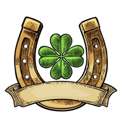 Good luck four leaf clover and horseshoe with vector image vector image