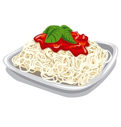 pasta with tomato sauce vector image vector image