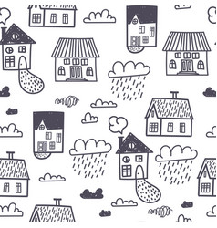 spring town seamless pattern vector image