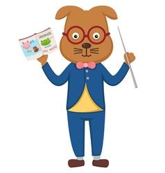 teacher dog in the classroom vector image vector image