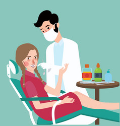 dentist dental expert with his patient doctoe take vector image