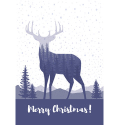 marry christmas cards design silhouette of a deer vector image