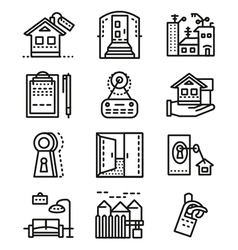 Rental of property line icons vector image