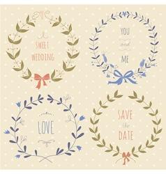 Set of hand drawn wedding wreaths vector image