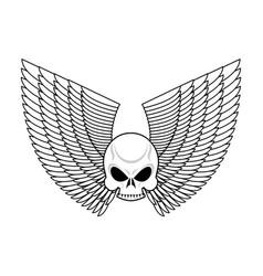 skull with wings emblem flying skeleton head logo vector image