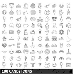 100 candy icons set outline style vector image