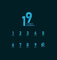 19 year anniversary aqua color template design vector