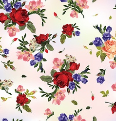 Abstract seamless floral pattern with red roses vector image