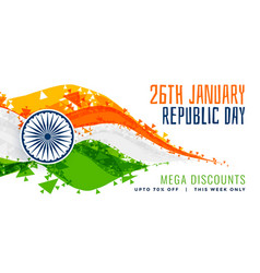 Abstract style indian flag design for republic day vector