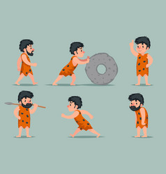 Ancient cave man character different positions and vector